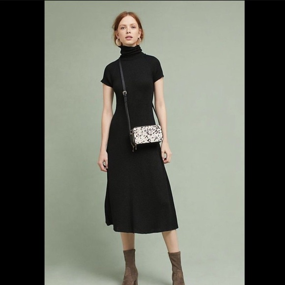 Anthropologie Dresses & Skirts - Maeve Subtle Metallic Knit Turtleneck Rib Dress 2
